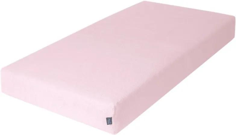 Cearceaf din bumbac flausat cu elastic 120x60 cm Ceba Baby roz