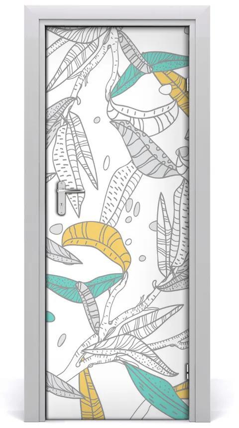 Autocolante pentru usi frunze colorate