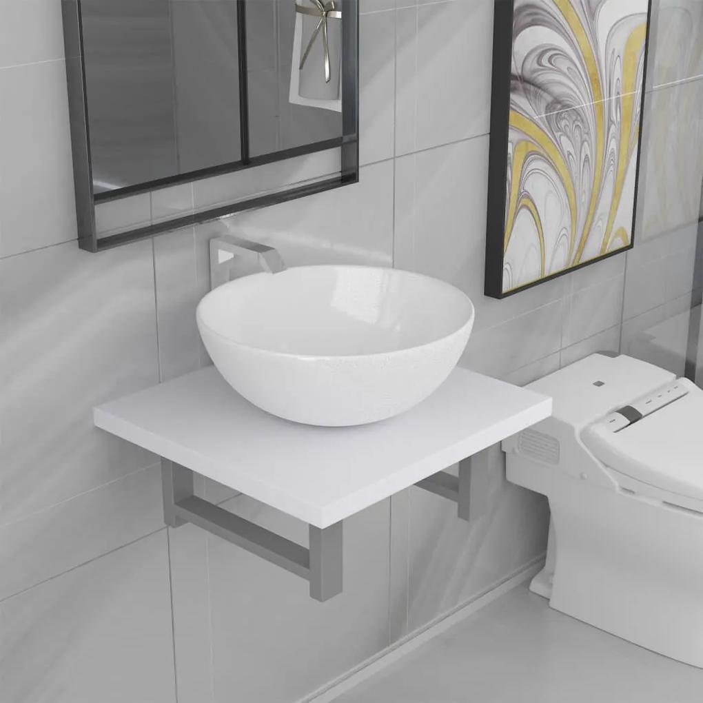 279323 vidaXL Set mobilier de baie, 2 piese, alb, ceramică