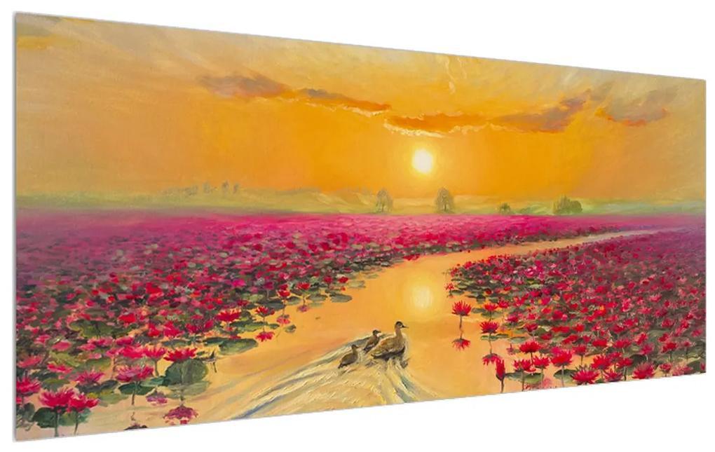 Tblou cu flori de lotus și rațe (K014993K12050)