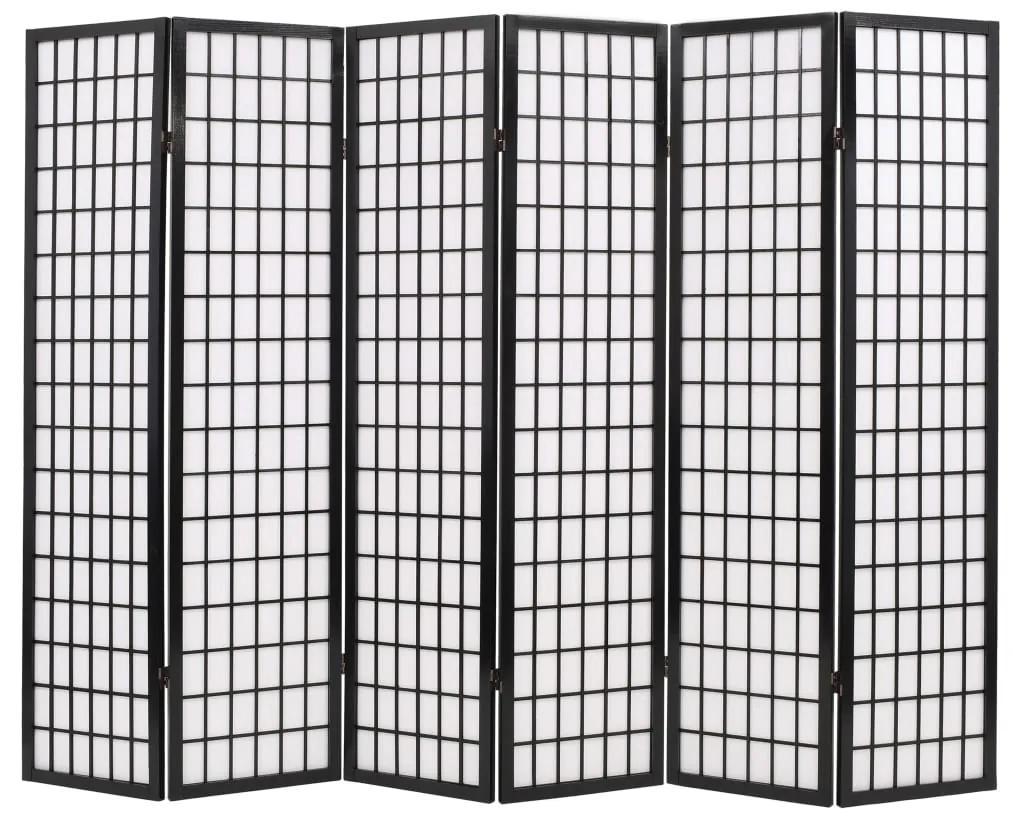 245900 vidaXL Paravan pliabil cu 6 panouri, stil japonez, 240x170 cm, Negru