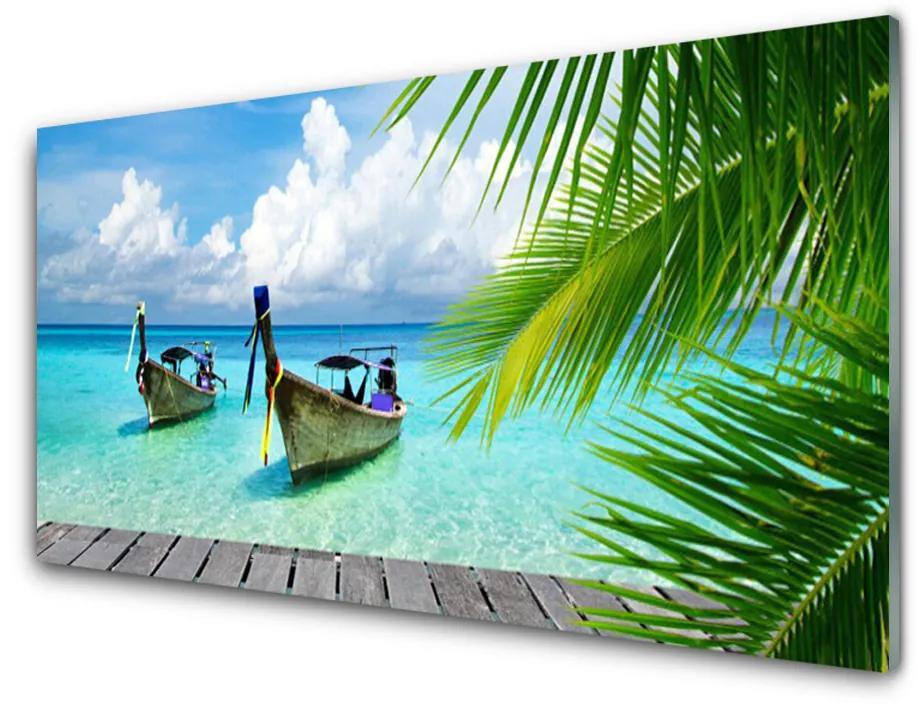 Tablou pe sticla acrilica Ambarcațiuni Sea Peisaj Albastru Maro Verde