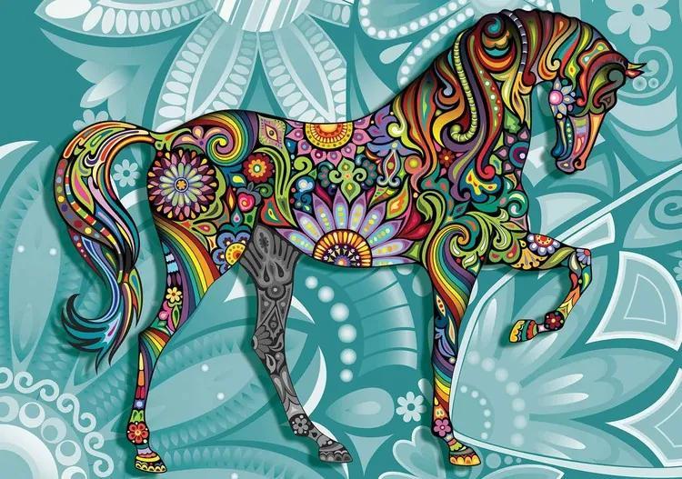 Horse Flowers Abstract Colours Fototapet, (368 x 254 cm)