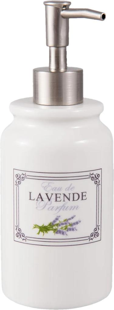 Dispenser ceramica alba mov pentru sapun Lavanda Ø8 cm x 20 cm