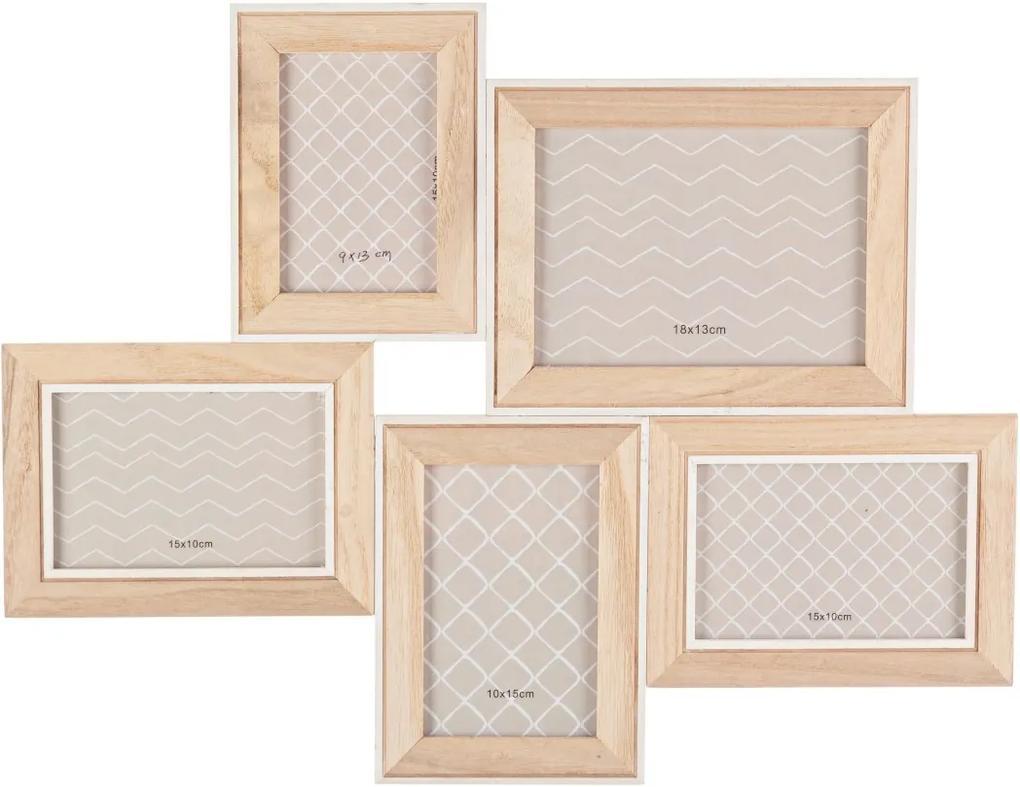 Rama foto de perete 5 fotografii din lemn natur 50 cm x 40 h