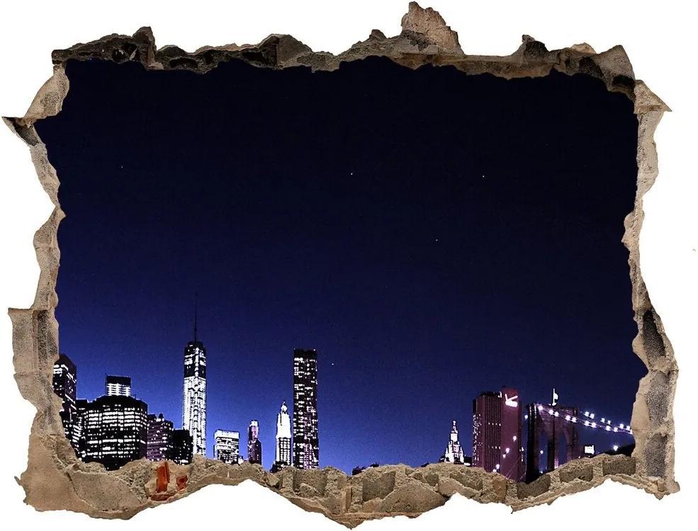 Autocolant gaură 3D Podul brooklyn