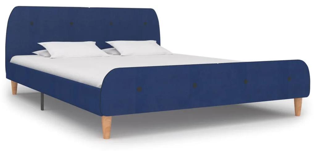 280930 vidaXL Cadru de pat, albastru, 180 x 200 cm, material textil