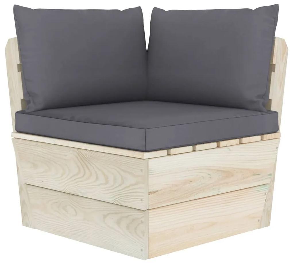 3063348 vidaXL Canapea de grădină din paleți, colțar, cu perne, lemn molid