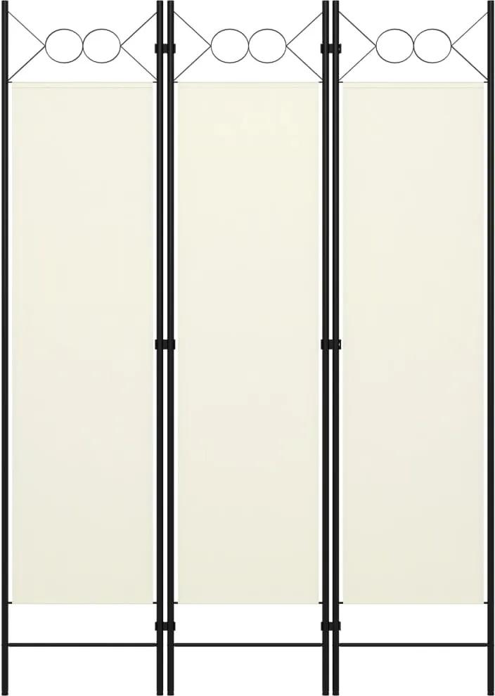 Paravan de camera cu 3 panouri, alb crem, 120 x 180 cm