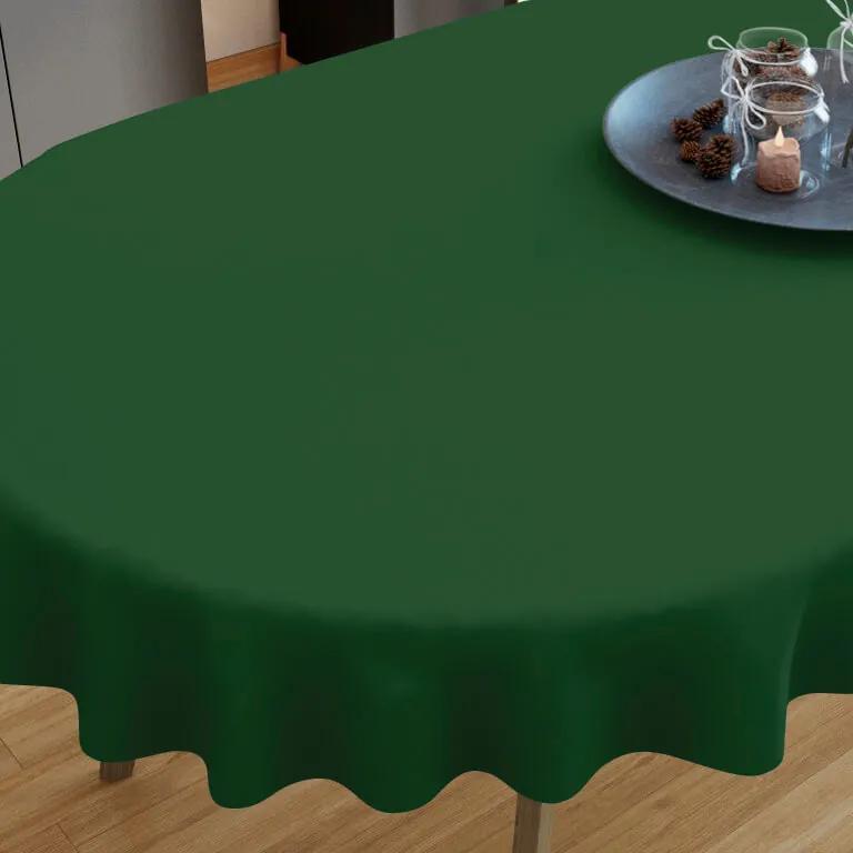 Goldea față de masă din bumbac verde închis- ovale 40 x 80 cm