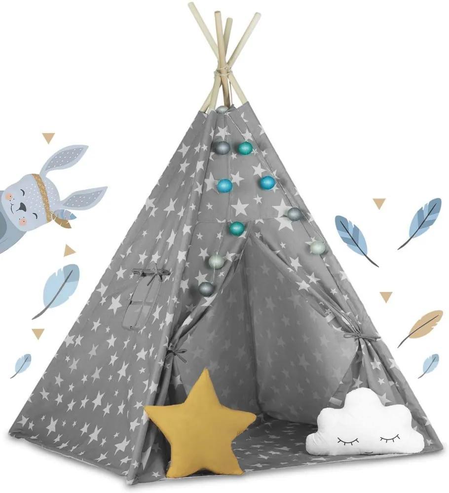 Cort pentru copii TeePee cu perne Grey Sky + Cadou