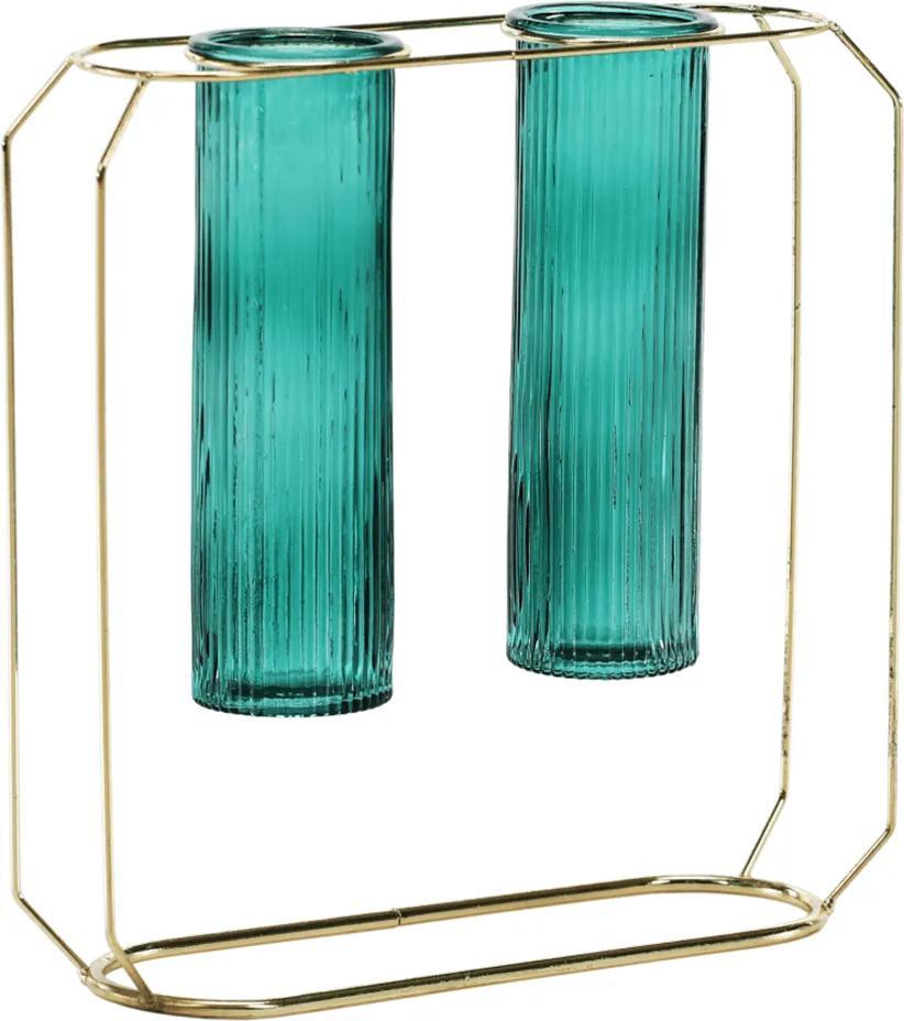 Vaza dublă, smarald/auriu, ROSEIN TYP 2