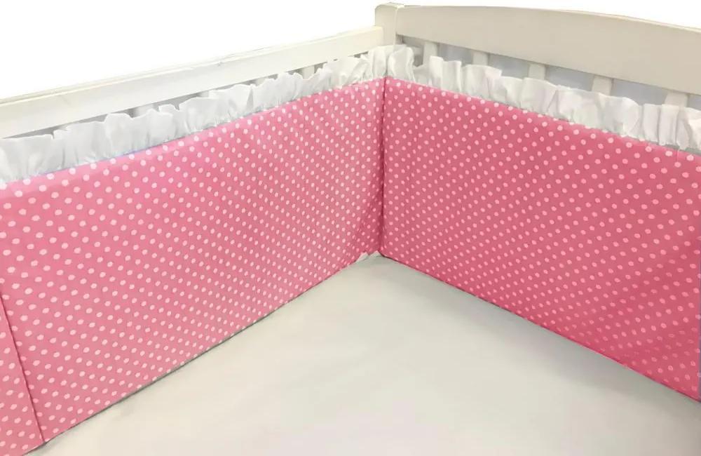 Aparatori laterale cu volanase si buline 140x70 h30 cm roz