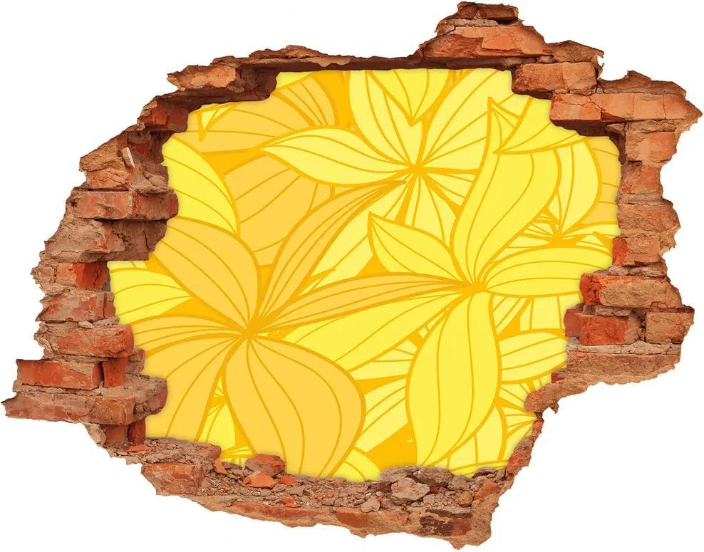 Fototapet 3D gaură în perete Flori galbene de fundal