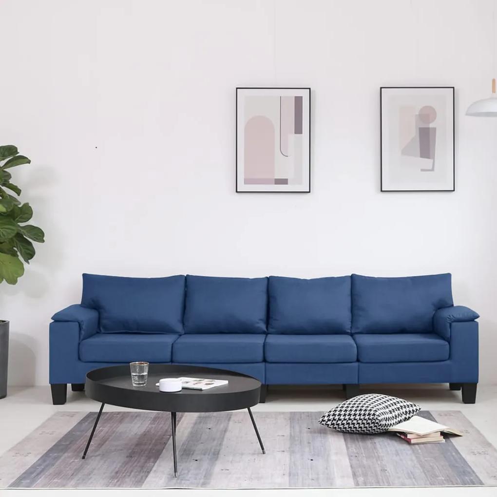 287094 vidaXL Canapea cu 4 locuri, albastru, material textil