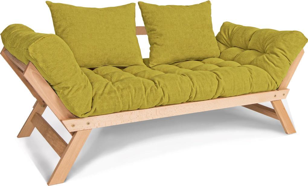 Canapea din lemn de fag Allegro Natural Green 170x83x80 cm