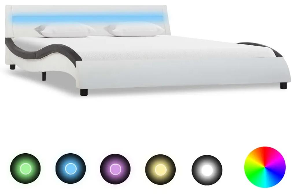285680 vidaXL Cadru de pat cu LED, alb și negru, 120x200 cm, piele ecologică