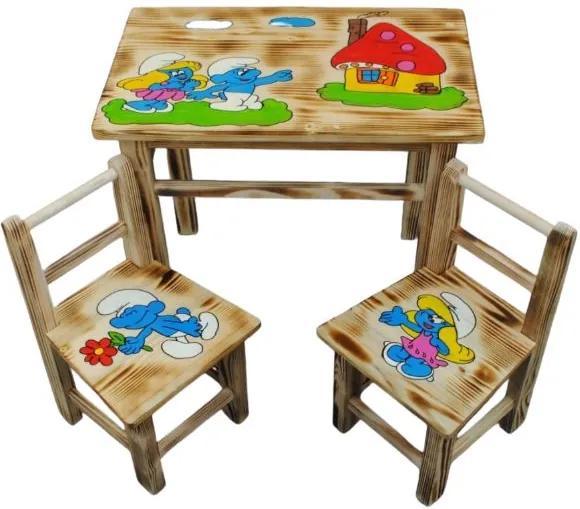 Masă din lemn pentru copii cu model Ștrumfi + 2 scaune