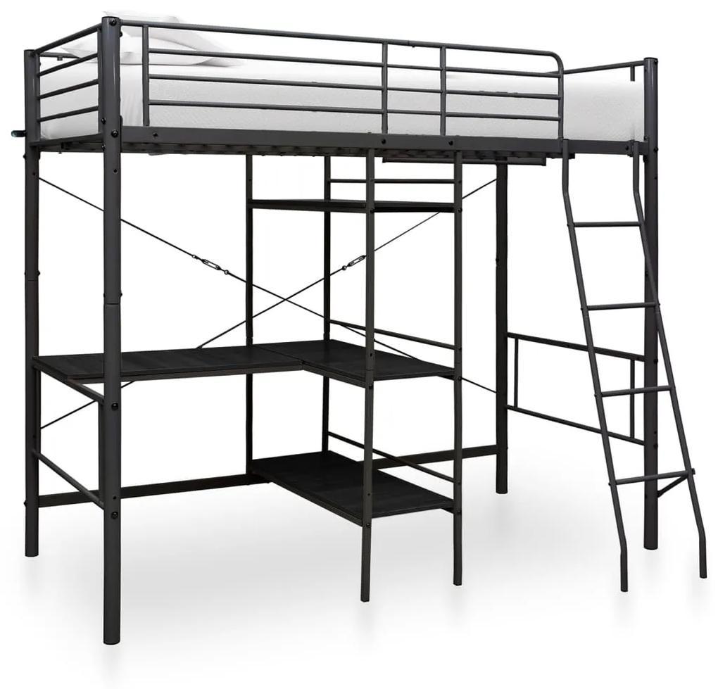 287907 vidaXL Cadru de pat supraetajat cu masă, negru, 90 x 200 cm, metal