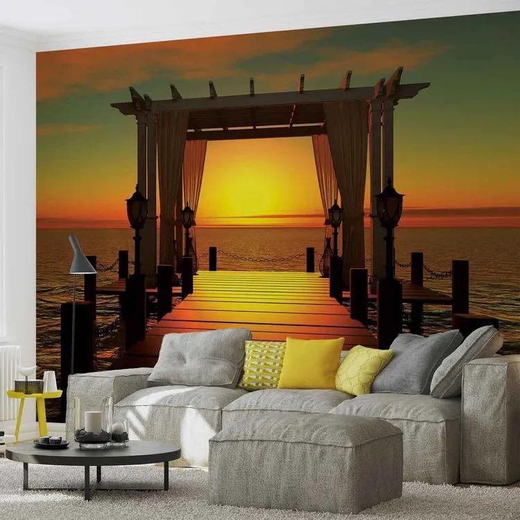 Sunset Paradise Beach Fototapet, (104 x 70.5 cm)