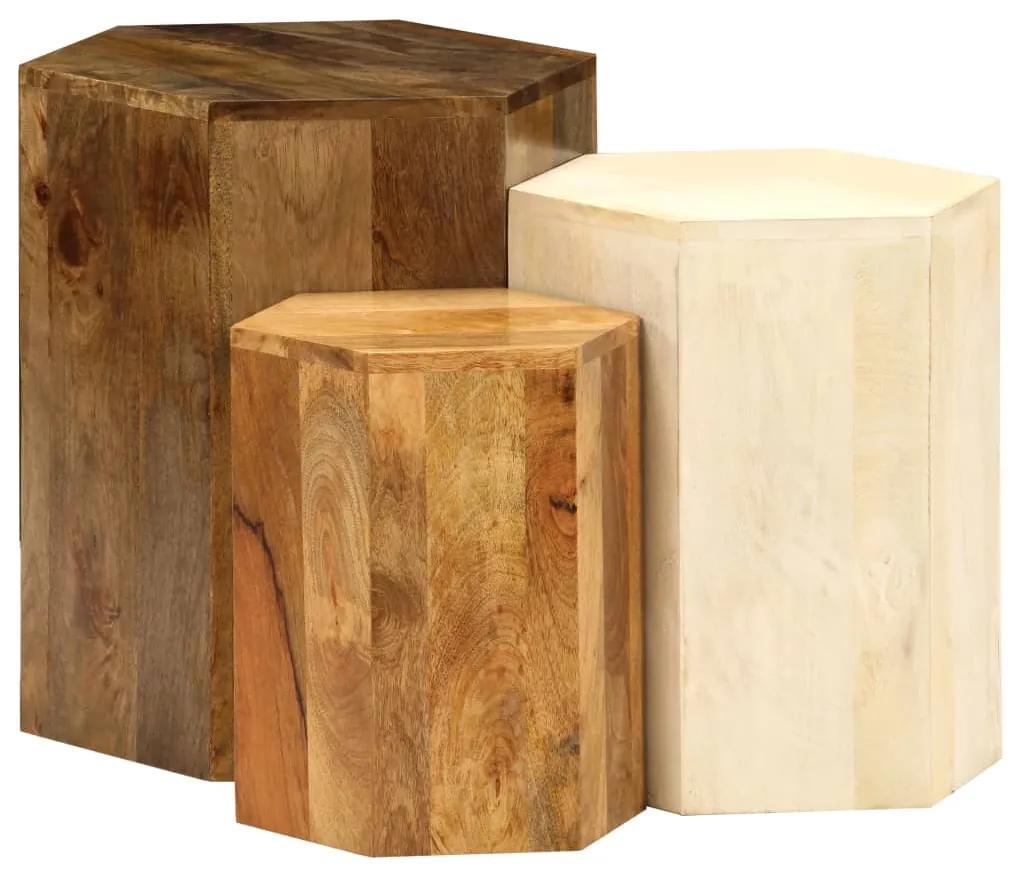246321 vidaXL Set măsuțe cafea, 3 piese, lemn masiv de mango