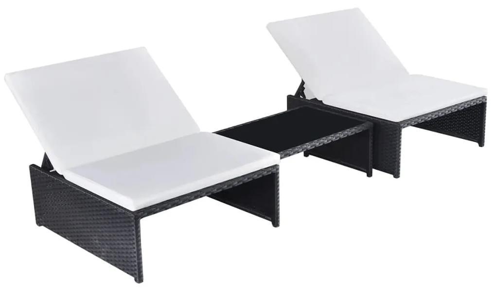 43069 vidaXL Șezlonguri de plajă cu masă, 2 buc., negru, poliratan