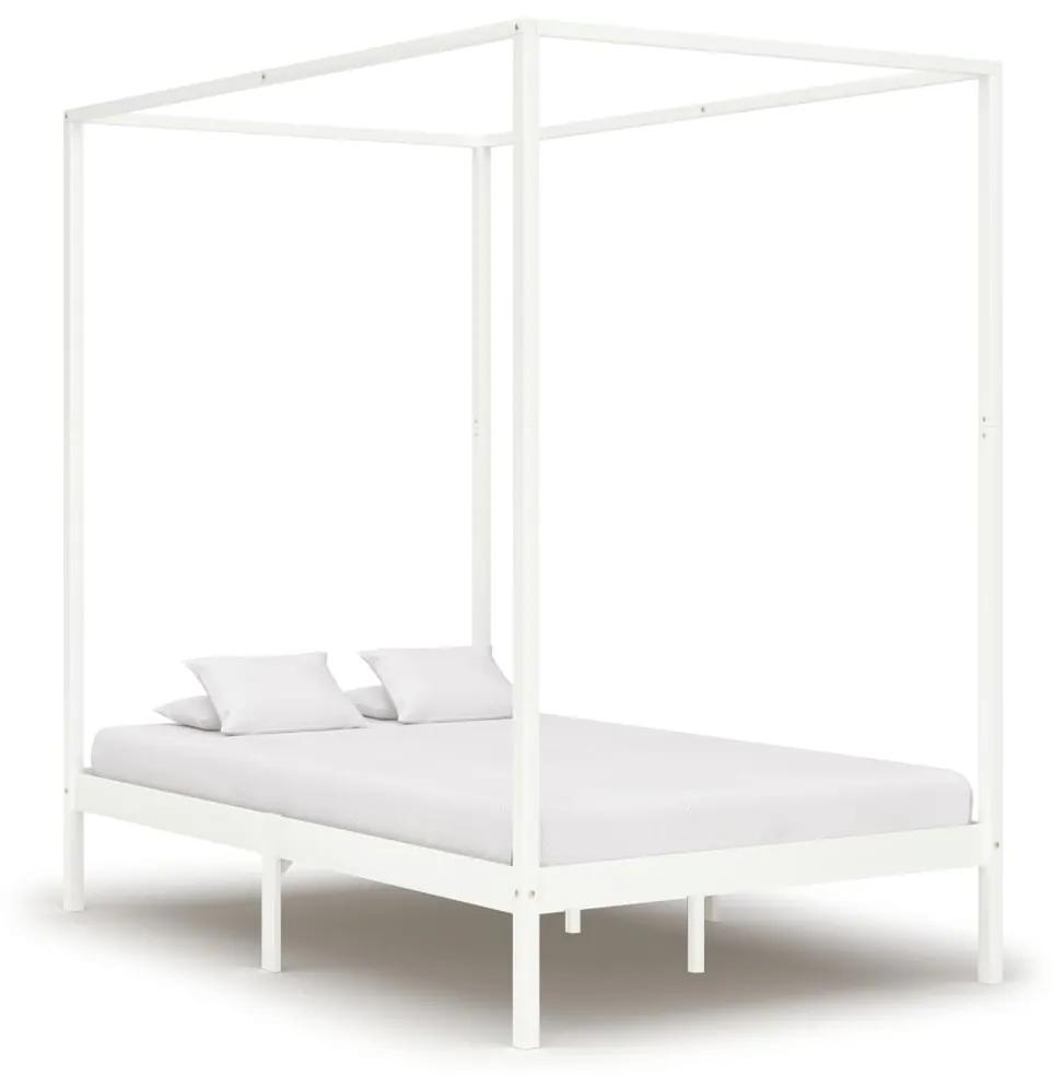 283264 vidaXL Cadru pat cu baldachin, alb, 120 x 200 cm, lemn masiv de pin