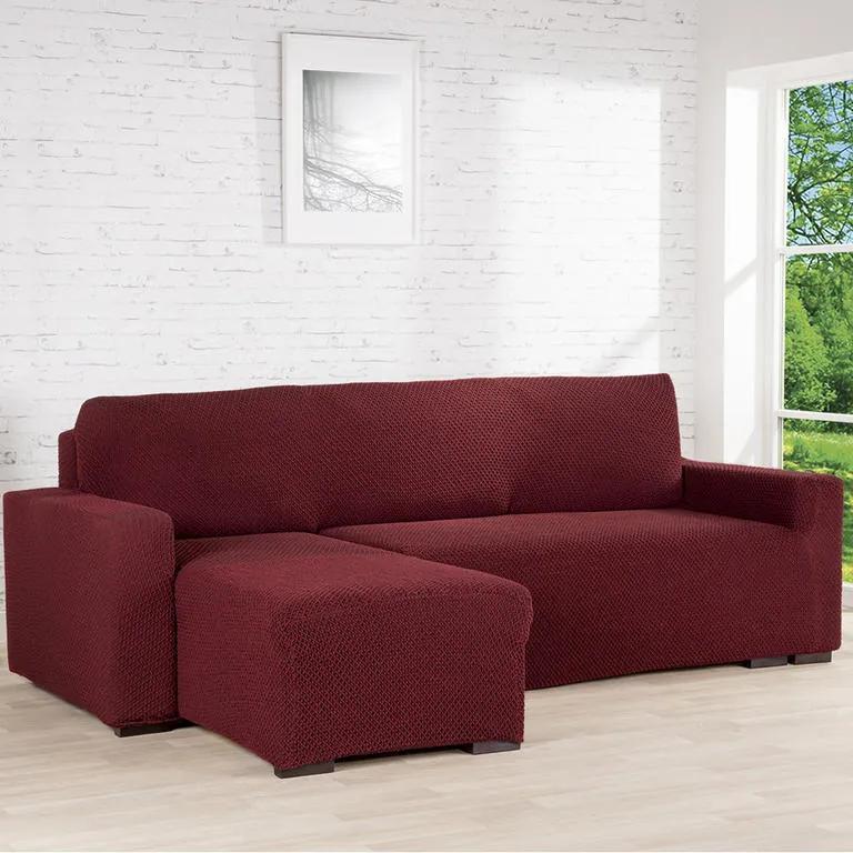 Nueva Textura Huse cu două elastice ROMA bordo canapea cu otoman stânga (l. 170 - 200 cm)