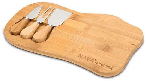 Set tocator si ustensile pentru branzeturi 33x18 cm din bambus Terrestrial NAVA NV 107 011