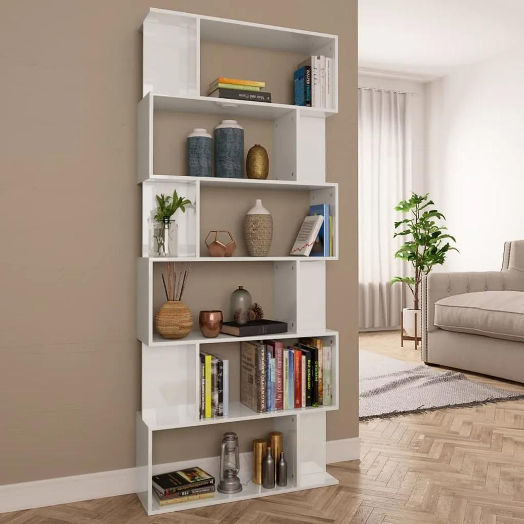 800096 vidaXL Bibliotecă/Separator cameră, alb lucios, 80 x 24 x 192 cm, PAL