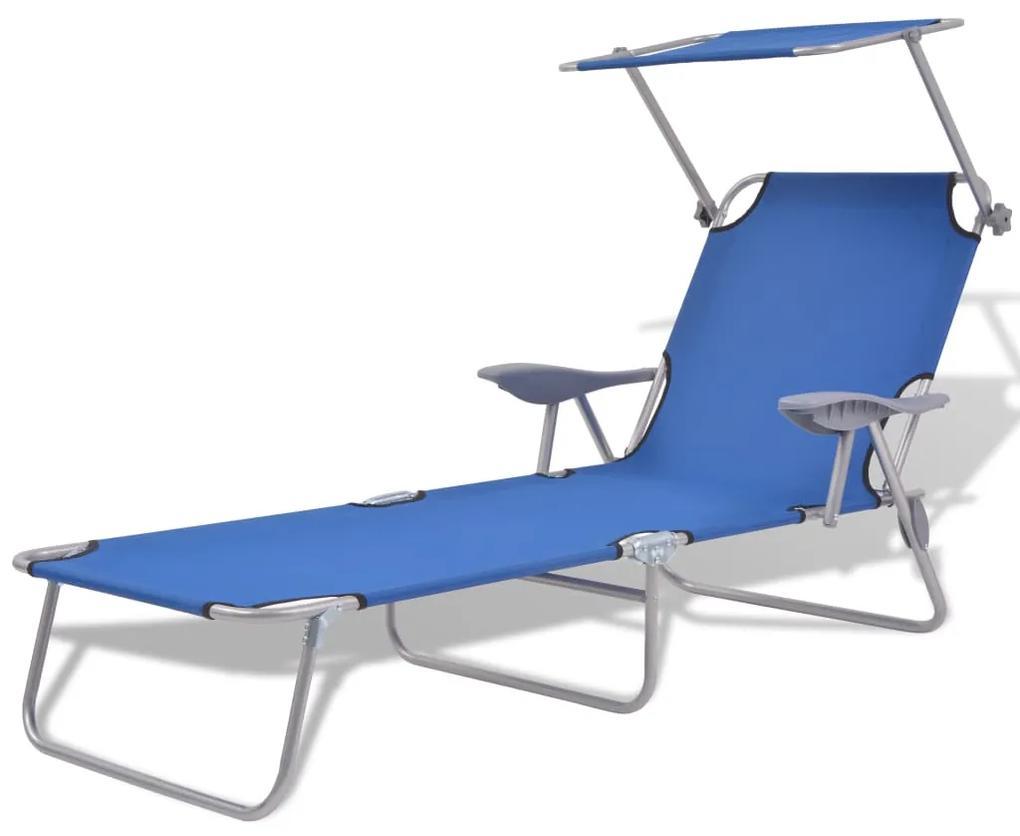 42931 vidaXL Șezlong de plajă cu baldachin, albastru, oțel