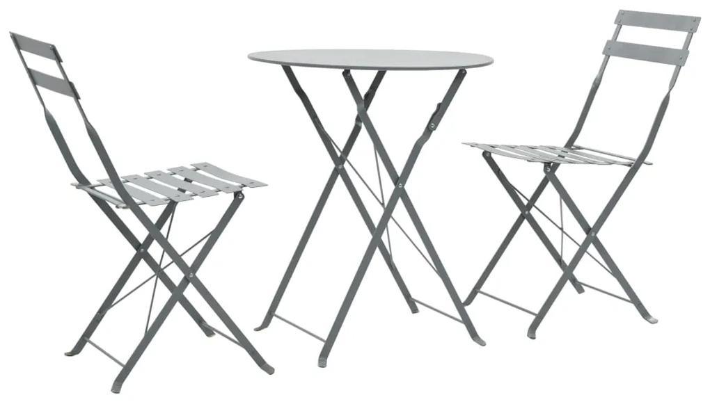 44355 vidaXL Set mobilier bistro, 3 piese, gri, oțel