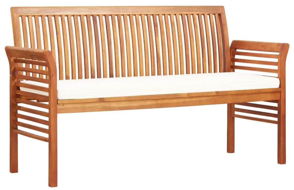 45968 vidaXL Bancă grădină cu 3 locuri & pernă, 150 cm, lemn masiv acacia