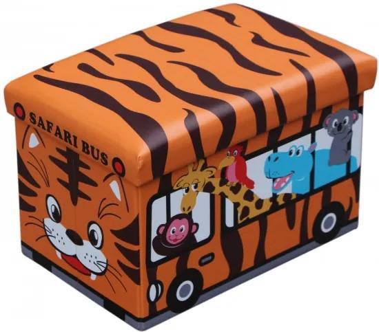 Taburet cu spatiu depozitare 48 x 32 x 32 cm, imprimeu Safari Bus