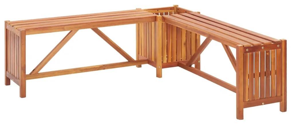 46345 vidaXL Bancă de grădină de colț cu jardinieră, 117x117x40 cm, acacia