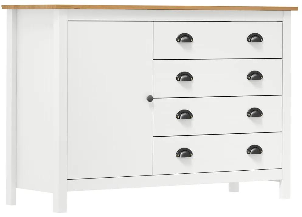 288974 vidaXL Servantă Hill Range, alb, 120 x 40 x 80 cm, lemn masiv de pin