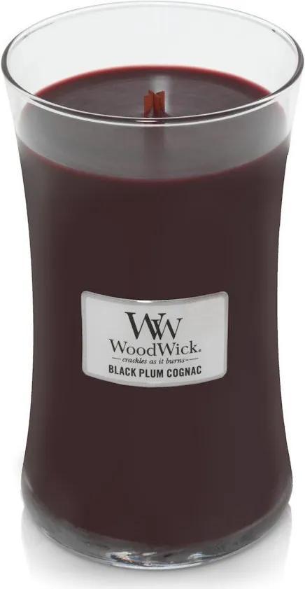 WoodWick lumanare parfumata Black Plum Cognac vaza mare