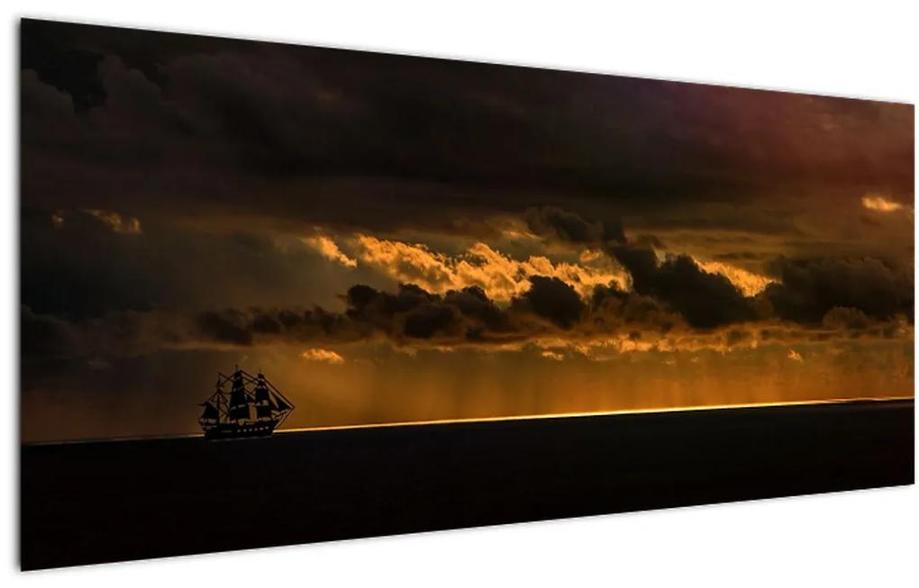Tablou unei vele  în apus de soare (120x50 cm), în 40 de alte dimensiuni noi