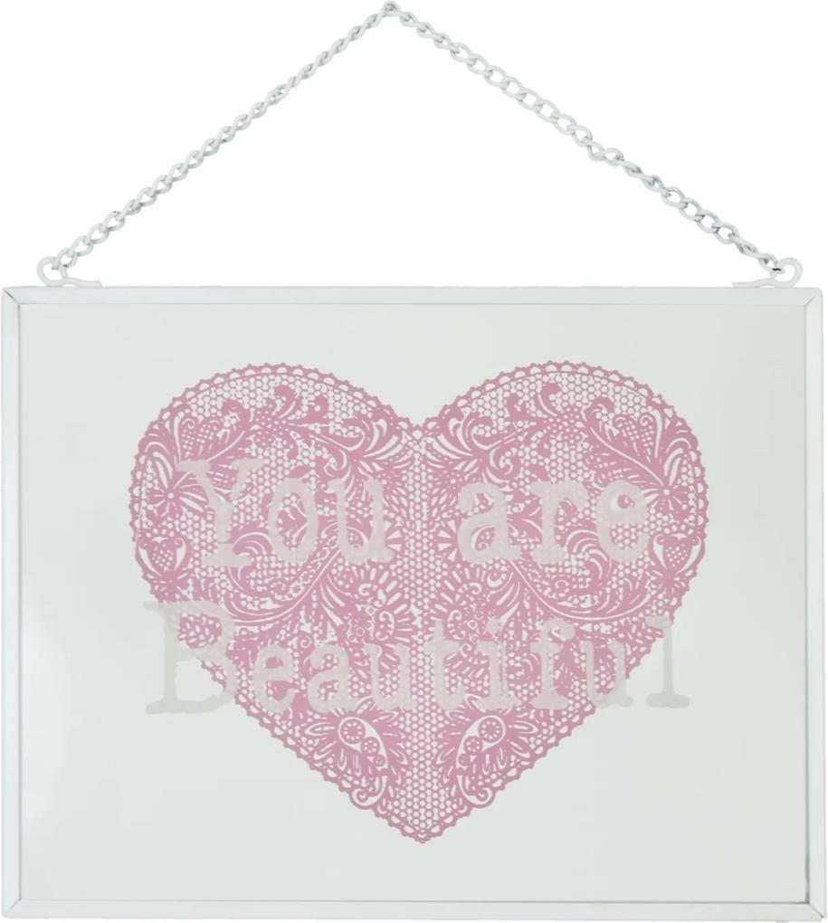 Tablou sticla cu mesaj motivational You are Beautiful 18*13 cm
