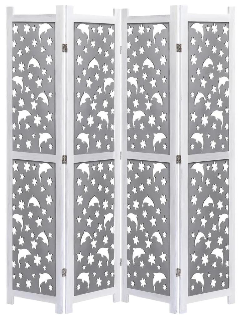 284192 vidaXL Paravan de cameră cu 4 panouri, gri, 140 x 165 cm, lemn masiv