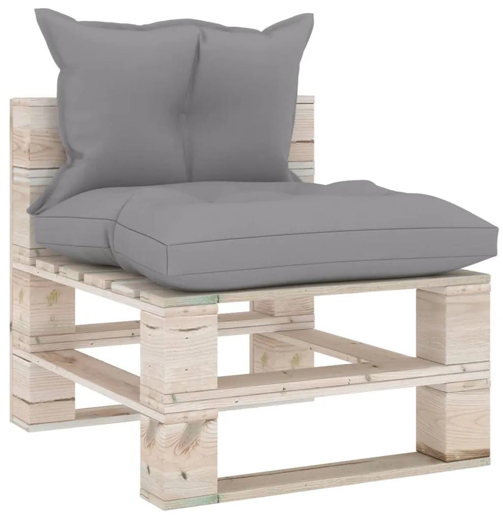 3066074 vidaXL Canapea de grădină din paleți, de mijloc, cu perne, lemn pin
