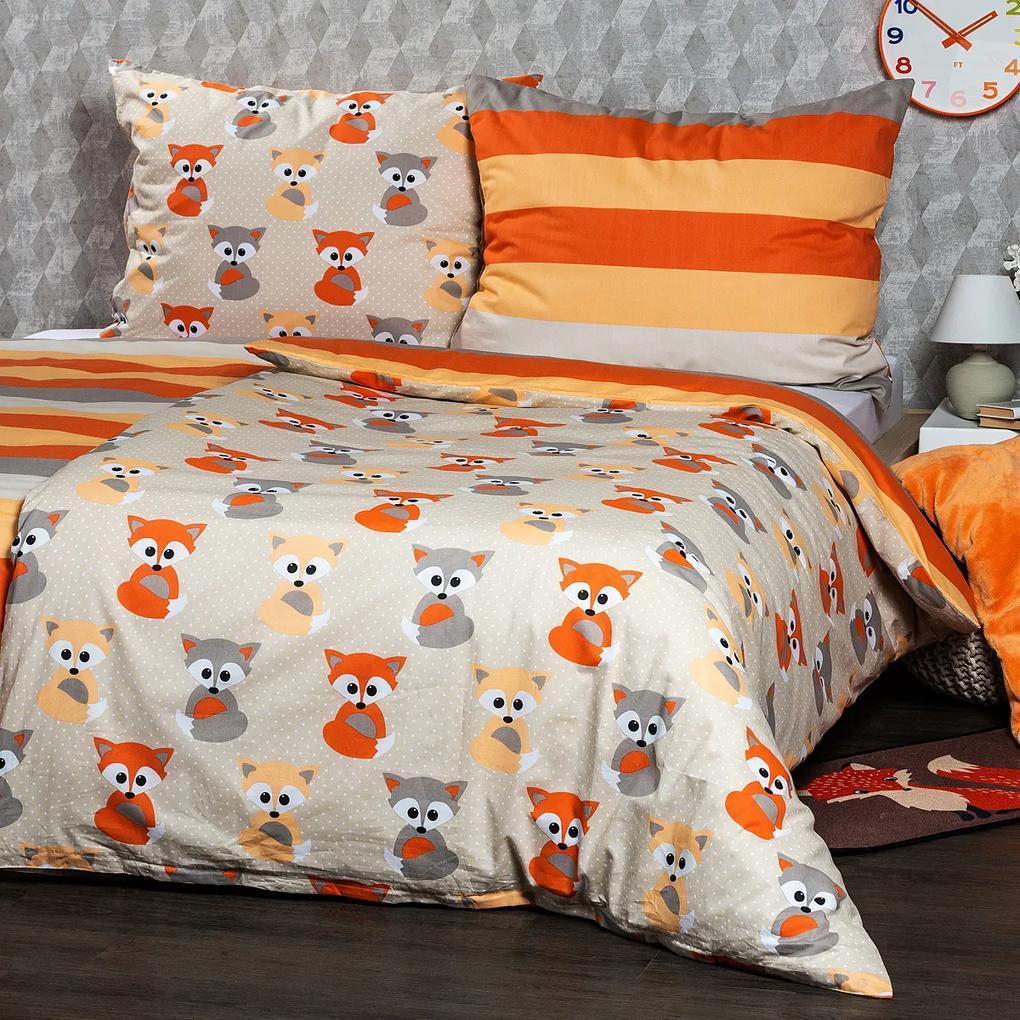 Lenjerie de pat 4Home Little Fox, din bumbac, 220 x 200 cm, 2 buc. 70 x 90 cm, 220 x 200 cm, 2 buc. 70 x 90 cm