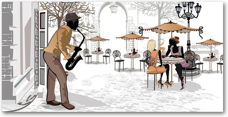 Fotografie imprimată pe sticlă Muzician de stradă