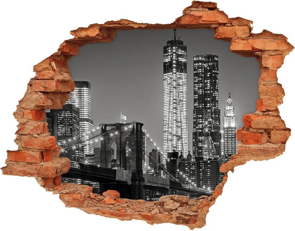 Autocolant de perete gaură 3D Manhattan pe timp de noapte