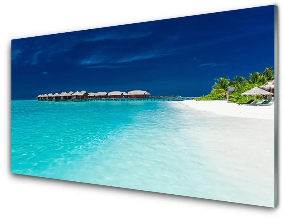Tablou pe sticla acrilica Sea Beach Peisaj Albastru Alb