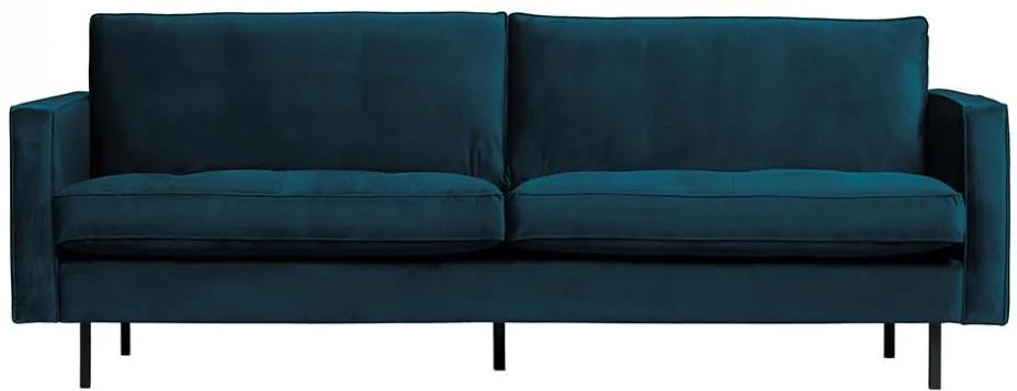 Canapea albastra din catifea pentru 2,5 persoane Rodeo