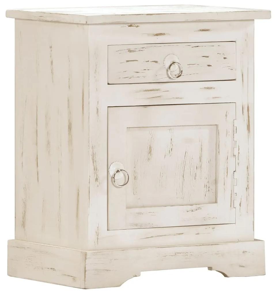 247713 vidaXL Noptieră, alb, 40x30x50 cm, lemn masiv de mango
