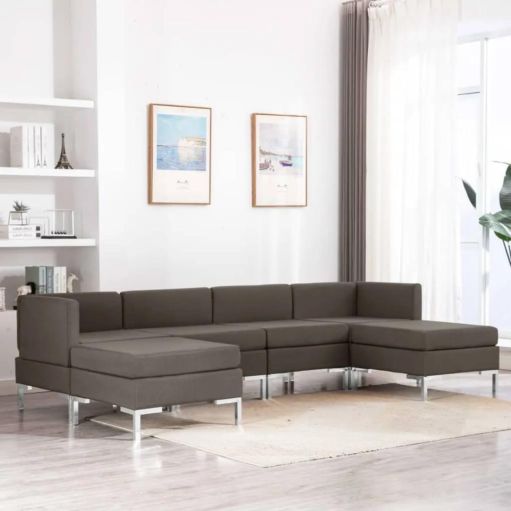 Set de canapele, 6 piese, gri taupe, material textil