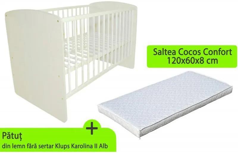 Klups - Patut Karolina II Alb + saltea 8 Mykids confort II