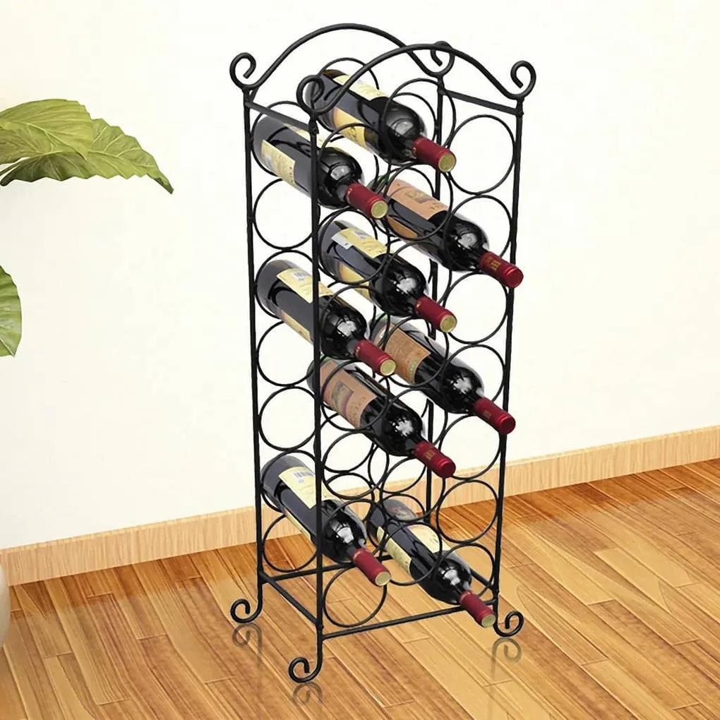 50206 vidaXL Suport sticle de vin pentru 21 de sticle, metal